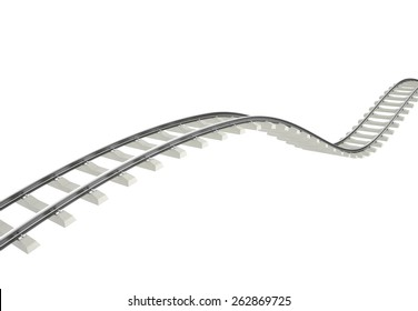 Illustration bend, turn railway isolated on white background. 3d high resolution image