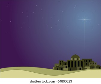 Illustration of Bethlehem with the Christmas star.