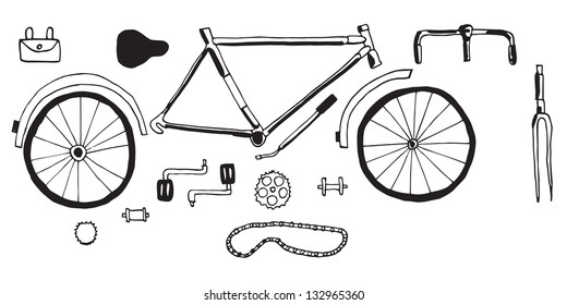 Illustration of bicycle parts