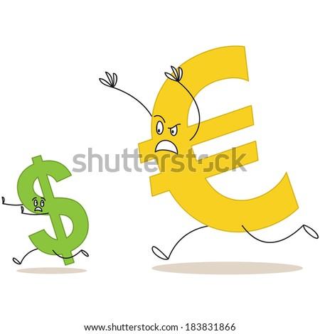 Illustration Big Cartoon Euro Sign Chasing Stock Illustration