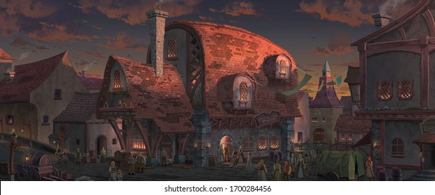 An illustration of the big medieval fantasy tavern in a town with beautiful sunset sky  scenery.