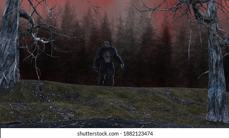 Illustration of a Bigfoot sasquatch creature standing at crest of hill