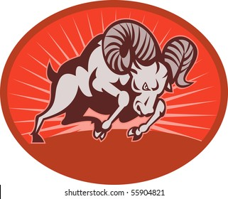 illustration of a Bighorn sheep or ram attacking with sunburst in the background set inside an oval.