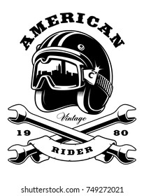 Illustration of biker helmet with crossed wrenches (RATER VERSION ON WHITE BACKGROUND)