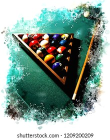 Illustration of Billiard game with balls in the triangle