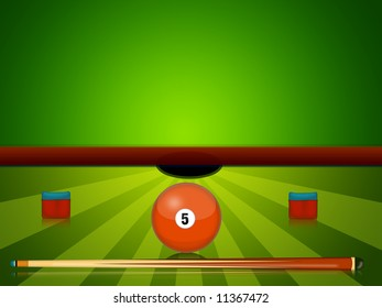 illustration of billiards equipment with number ball