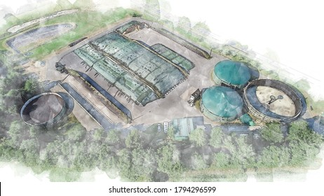 Illustration eines Biogaswerks zur Stromerzeugung und Energieerzeugung