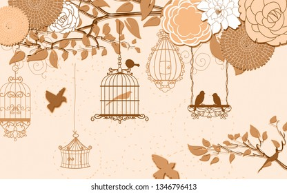 Illustration of Birds inside cage hanging on tree branch decorative floral emboss background 3D wallpaper. Graphical poster. Modern art