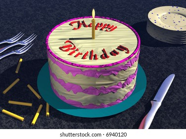 Illustration of birthday cake with candles and plates