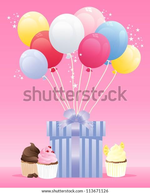 Awesome Illustration Birthday Present Wrapped Blue Striped Stock Funny Birthday Cards Online Drosicarndamsfinfo