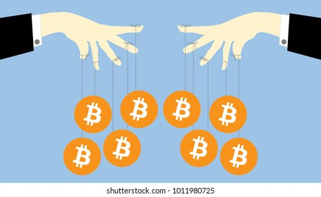 Illustration of Bitcoin ponzi scheme. Hand controlling a bitcoins crypto currency as puppet. Bitcoin manipulation concept. Flat style.