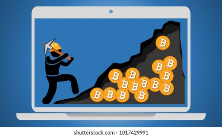 Illustration of Bitcoin virtual mining concept. Earning cryptocurrency in computer with internet. Mining malware and cryptojacking. Flat style illustration.