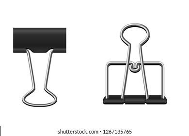 illustration black binder clip set on white background.