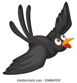 Illustration of a black bird on white - E