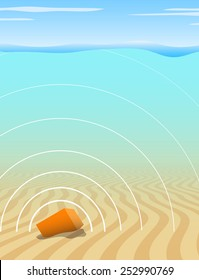 Illustration of a black box recorder transmitting a signal from the seabed after an aircraft disaster