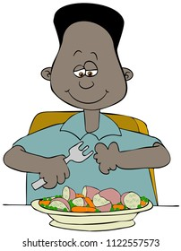 Illustration of a black boy about to eat a plate full of potatoes, carrots & peas with a fork.
