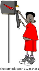Illustration of a black boy on his tiptoes getting letters out of a mailbox.