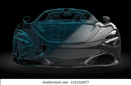 Illustration of a black car with wireframe intersection on a black background: 3D illustration