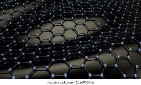 Illustration of a black crystalline carbon lattice. Abstraction, background. Graphene - material of the future, on a black background. The idea of superconducting and heavy-duty material. 3D rendering