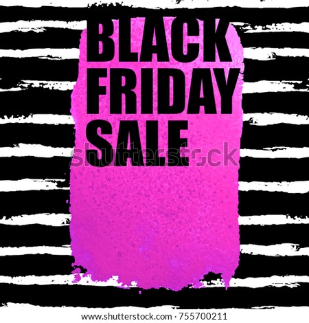 27dae39a9c2 Illustration of Black Friday Sale banner with pink watercolor spot on dark  watercolor brush stroke background