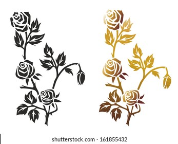 illustration of a black and a golden rose
