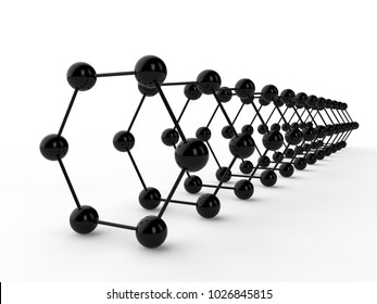 Illustration of a black hexagon graphene molecule. The idea of heavy-duty material, advanced technology. Graphene tunnel out of carbon. 3D rendering. Super battery and superconductor of the future.