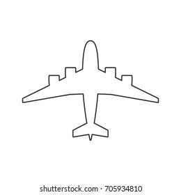 Illustration of Black outline isolated airplane on white background. Line View from above of aeroplane.