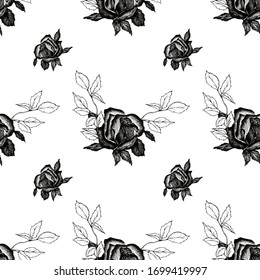 illustration in black pencil. hand painted. seamless pattern of black rose with leaves on a white background.