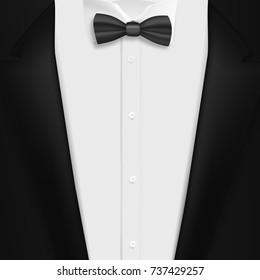 954d8f9ccf6 Illustration of Black Suit with Bowtie. Realistic Mens Tuxedo Suit Succeed  Businessman Concept