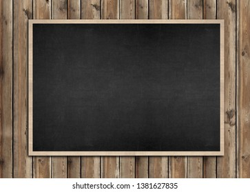 illustration blackboard on wood wall