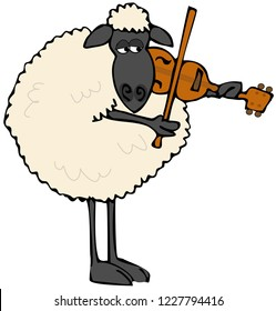 Illustration of a black-faced sheep standing upright and playing a violin.