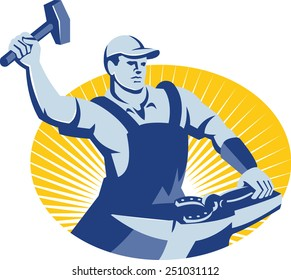 Illustration of a blacksmith farrier with hammer striking at horseshoe on anvil set inside oval with sunburst in the background done in retro style.