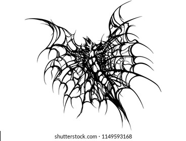 Illustration black&white fantasy insect or a bat with wings like a spider web