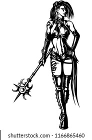 Illustration black&white fantasy woman wizard with a magic wand