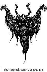 Illustration black&white ghost monster with ragged wings like a spider web