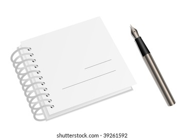 Illustration of a blank spiral notebook and a pen