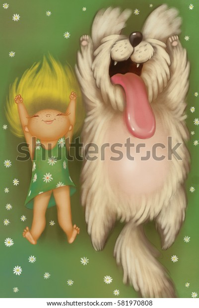 Illustration Blond happy girl with her big furry dog lying on lawn around white flowers top view