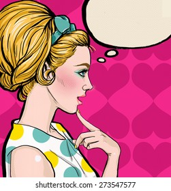 Illustration of blonde woman in profile with the speech bubble.Vintage advertising poster of thinking sexy girl