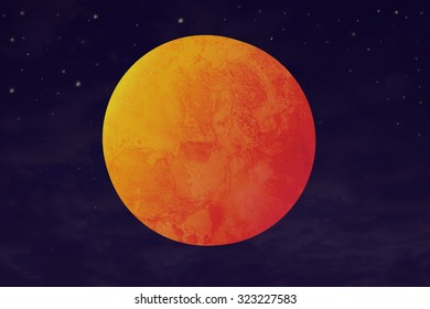 Illustration of a blood moon and supermoon. The illustration is made from textures and drawing in Photoshop, so it can be an arbitrary moon and/or (red) planet.