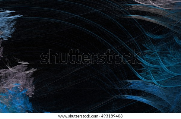 illustration blue and beige wavy lines in the form of frost patterns on the window and the Christmas tree on the black background