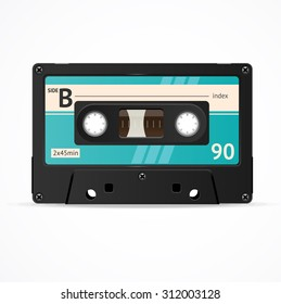 Illustration Blue Cassette Tape isolated on a white background.