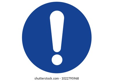 An illustration of a blue circular warning sign with exclamation mark.
