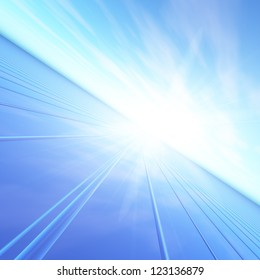 An illustration of a blue dawn sun flash sending light down a high speed grid.  Abstract concept to future forward thinking.