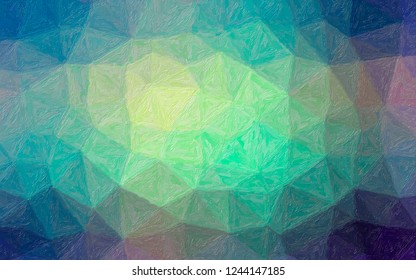 Illustration of blue, green and yellow Impasto background.
