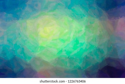 Illustration of blue, green and yellow Watercolor on paper background