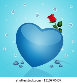 an illustration of a blue heart with rose for Valentine Day