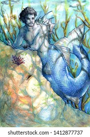 Illustration of a blue merman resting on a rock underwater