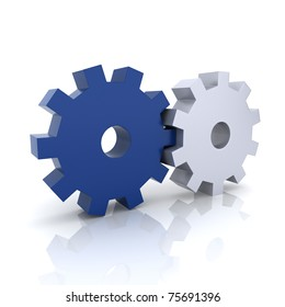 Illustration with blue and metallic gears teamwork concept (blue collection)