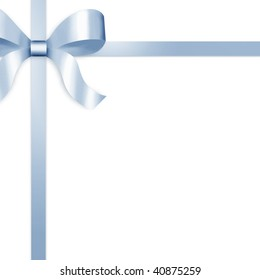 Illustration of blue satin ribbon, tied with bow on upper left side of frame.  White background provides copy space.