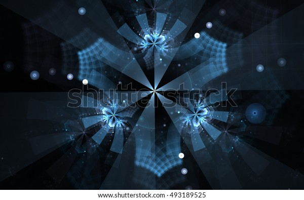 illustration blue snowflake with curly patterns with blue rays radiating from the center and balls with bokeh effect